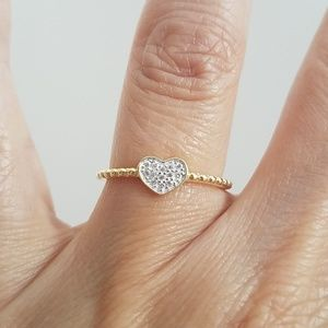 Gold Heart Promise Engagement Wedding Ring Band